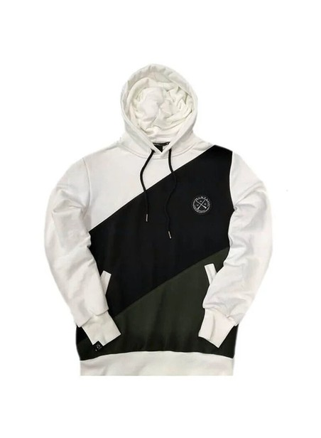 VINYL ART CLOTHING HOODIE WITH ASYMMETRIC COLOR BLOCKING