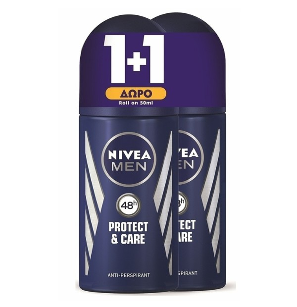 NIVEA MEN PROTECT + CARE DEO ROLL-ON 48H 50ML PR(1+1 ΔΩΡΟ)