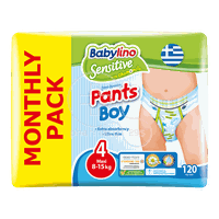 BABYLINO - MONTHLY PACK SENSITIVE Pants Boy No4 (8-15Kg) - 120 πάνες