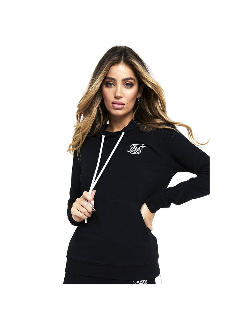 SIKSILK FITTED OVERHEAD HOODIE-BLACK