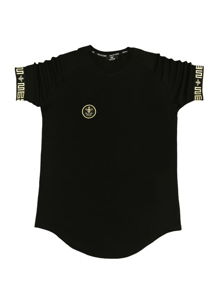 MAGIC BEE CLOTHING BLACK T-SHIRT WITH ELASTICATED GRECA SLEEVES