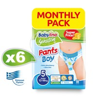 BABYLINO - MONTHLY PACK SENSITIVE Pants Boy No5 (12-18kg) - 108 πάνες