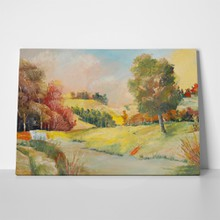 Oil painting tree road field 538006804 a