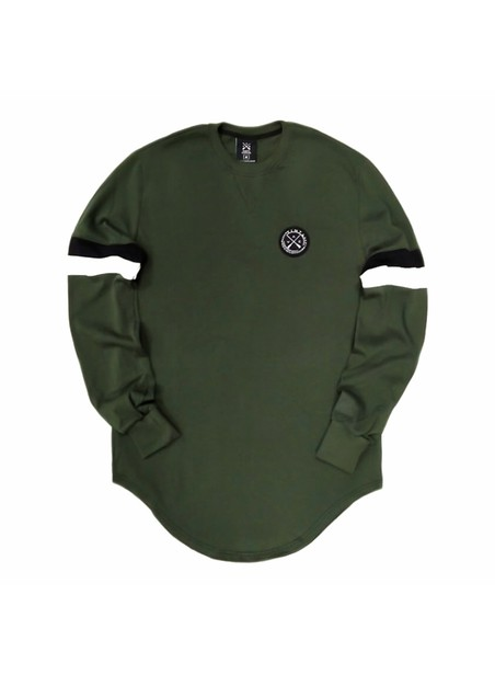 VINYL ART CLOTHING SWEATSHIRT WITH COLOUR BLOCKING KHAKI