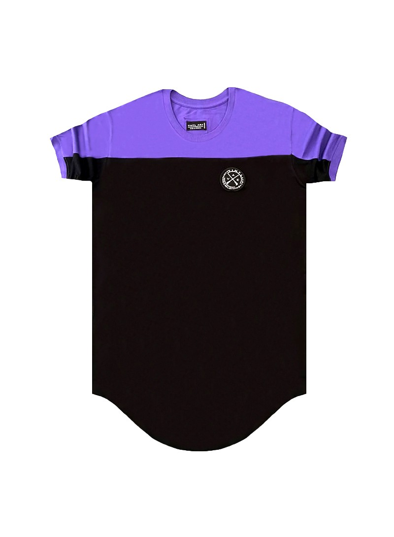 VINYL ART CLOTHING PURPLE CONTRAST SHOULDER PANEL T-SHIRT