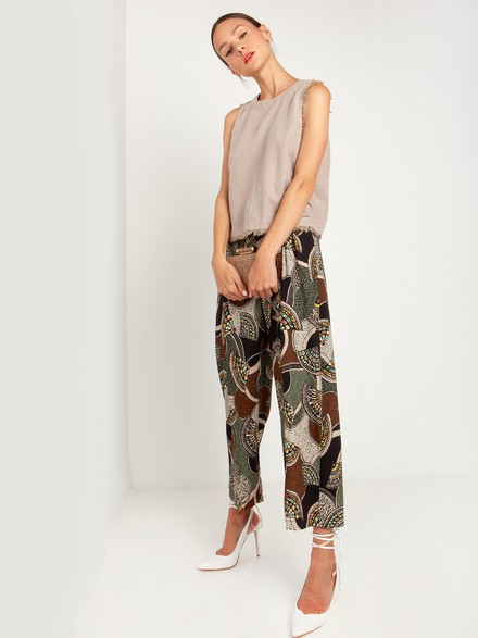Paperbag crop pants