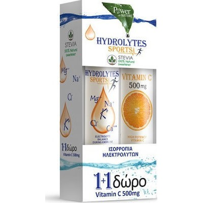 POWER HEALTH HYDROLYTES SPORTS STEVIA 20S + ΔΩΡΟ VIT C500MG 20S