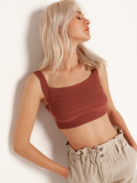 Knit top with cut out