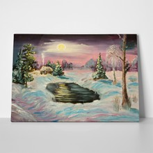 oil painting winter night scene 461373811 a