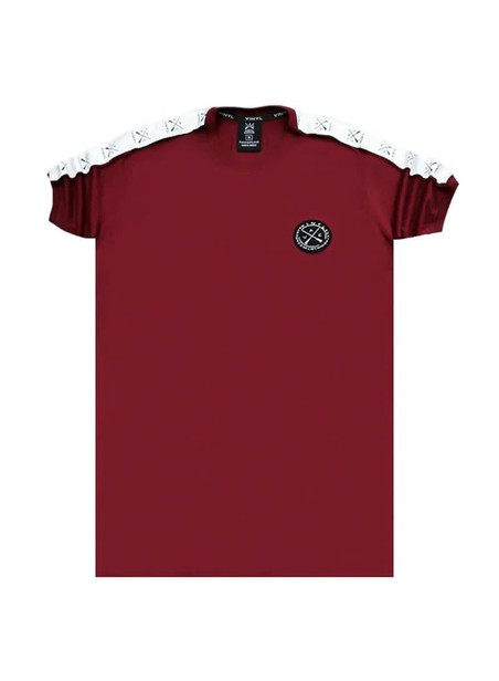VINYL ART CLOTHING BORDEAUX T-SHIRT WITH LOGO TAPING