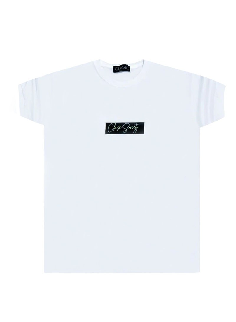 CLVSE SOCIETY WHITE T-SHIRT 520 NEON SQUARE