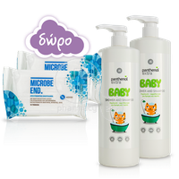 PANTHENOL - PROMO PACK EXTRA Δύο (2) Baby 2in1 Shampoo & Bath (1000ml) ΜΕ ΔΩΡΟ ΔΥΟ (2) ΠΑΚΕΤΑ MICROBE End Απολυμαντικά Μαντηλάκια (15τεμ.)