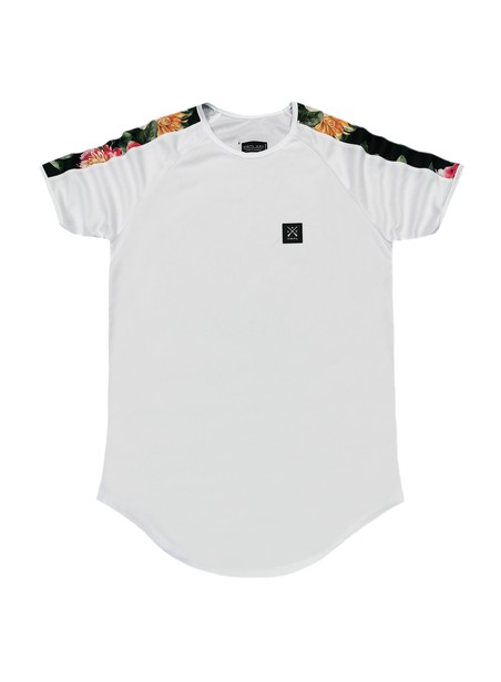 VINYL ART CLOTHING WHITE FLORAL STRIPE T-SHIRT