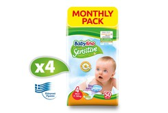 BABYLINO - MONTHLY PACK SENSITIVE Maxi No4 (7-18kg) - 200 πάνες