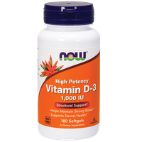 NOW VITAMIN D-3 HIGH POTENCY 1.000 IU, 180 SOFTGELS