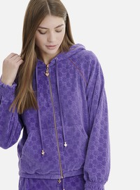 PURPLE VELOUR JACKET IN ALLOVER MOTIFS