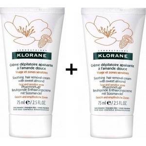 Klorane soothing hair removal cream 2 x 75ml