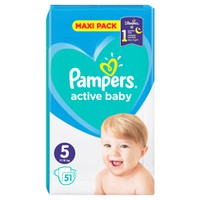 PAMPERS ACTIVE BABY No5 (11-16 KG) MAXI PACK (51TEM)