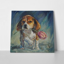 Dog with tulip  beagle  697722160 a