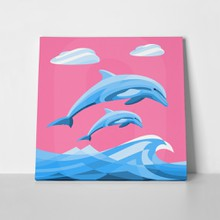 Two dolphins jumping illustration 602459909 a
