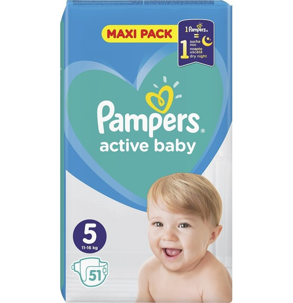 PAMPERS ACTIVE BABY ΜΕΓ 5 (11-16kg) 1X51 MAXI