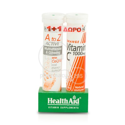 HEALTH AID - PROMO PACK A to Z Active Multivitamins & Ginseng with CoQ10 (20eff.tabs) ΜΕ ΔΩΡΟ Vitamin C 1000mg (20eff.tabs)