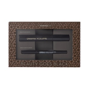 KORRES Σετ drama volume mascara black & minerals liquid eyeliner pen black