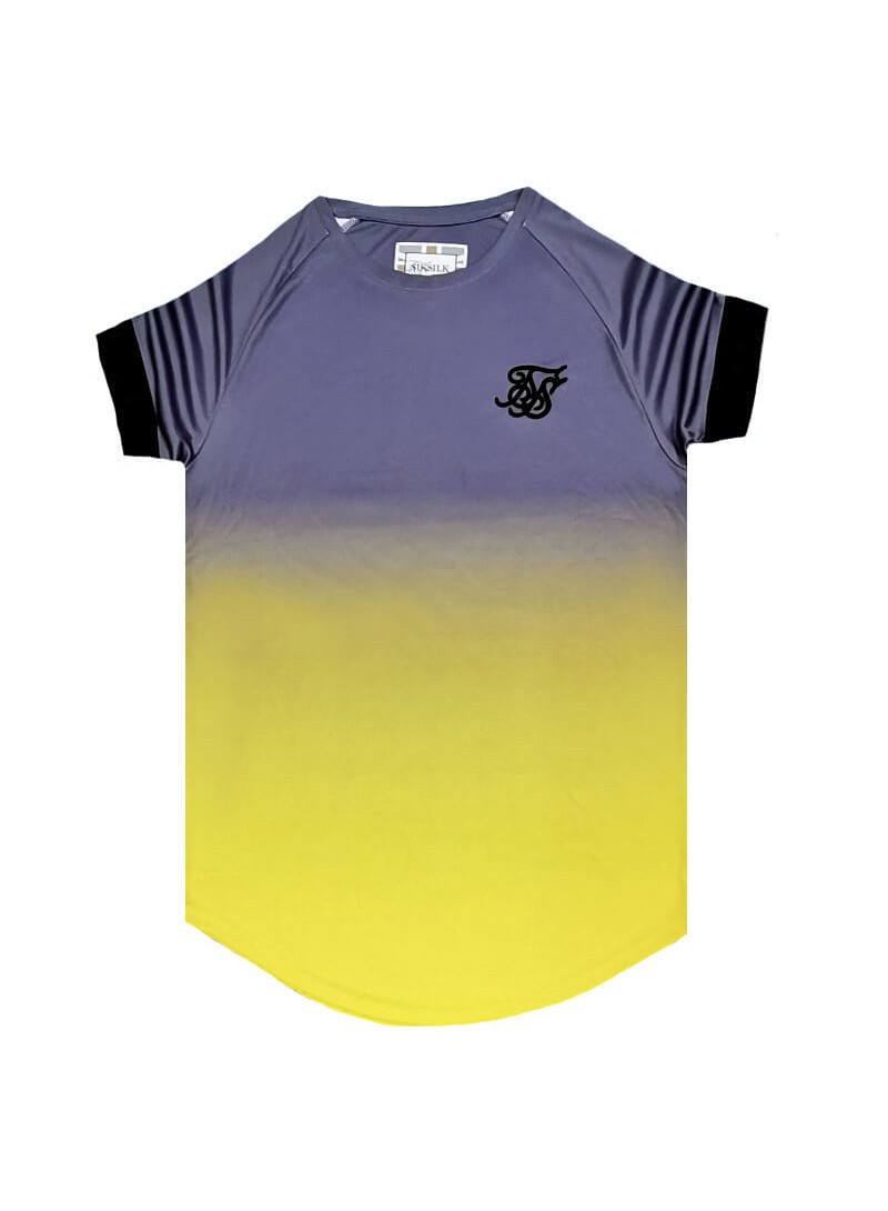 SikSilk S/S Fade Out Tech Tee - Grey & Neon Yellow