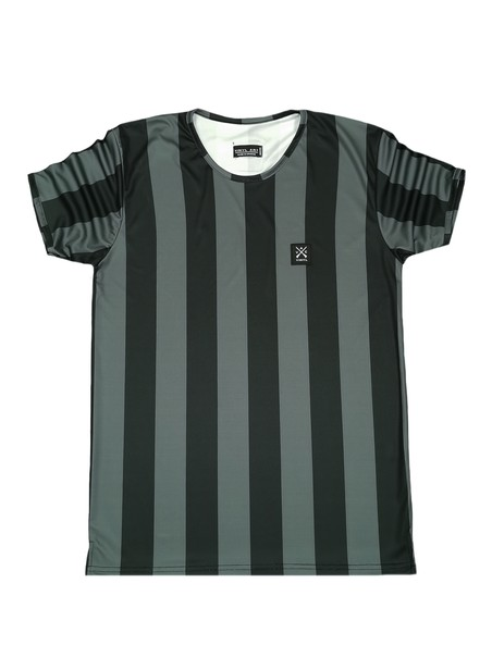 VINYL ART CLOTHING BLACK STRIPED PRINT T-SHIRT