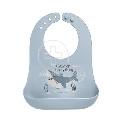 STEPHEN JOSEPH - SAFE AND SOUND Silicone Baby Bib 0m+ (Shark)