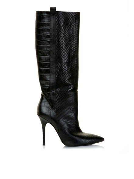 Crocodile print leather boots