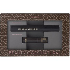 Korres Beauty Goes Natural Set: Volcanic Minerals Mascara Drama Volume 01 Μαύρο, 11ml + Morello Creamy Lipstick 23 Natural Purple - Κραγιόν, 3.5gr