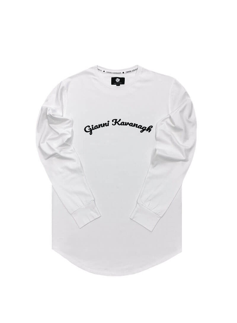 Gianni Kavanagh White GK Calligraphy Long Sleeve Tee