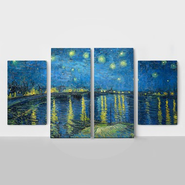 4panel van gogh starry night