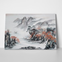 Landscape traditional chinese painting red grey 675404737 a