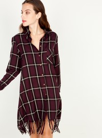 Checked shirt dress with fringes