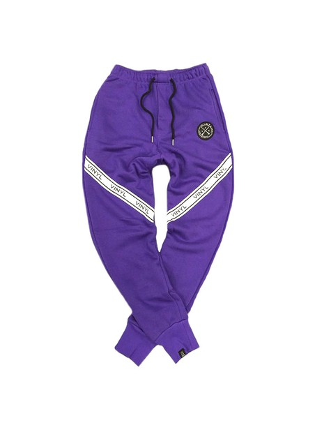 VINYL ART CLOTHING PANTS WITH TAPING PURPLE