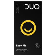 Duo Easy Fit Προφυλακτικά 12τμχ. Προφυλακτικά υψηλής ποιότητας από φυσικό λάτεξ σε νέα συσκευασία.