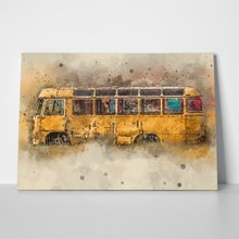Yellow retro bus 638410660 a