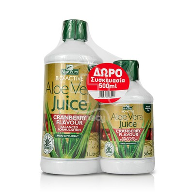 OPTIMA - PROMO PACK ALOE VERA Juice Cranberry Flavour - 1000ml & ΔΩΡΟ επιπλέον ποσότητα - 500ml