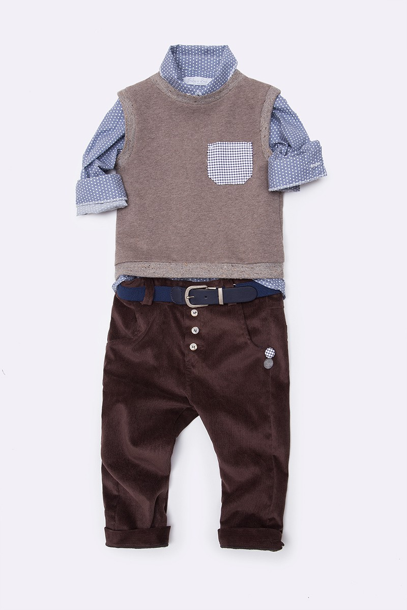 7e1e9007967 Σετ με μπεζ καζάκα, πουκάμισο, ζώνη και καφέ παντελόνι - sardelucky