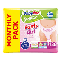 BABYLINO - MONTHLY PACK SENSITIVE Pants Girl No5 (12-18Kg) - 136 πάνες