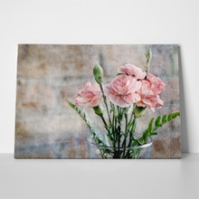 Pink carnations on brick background 362412782 a