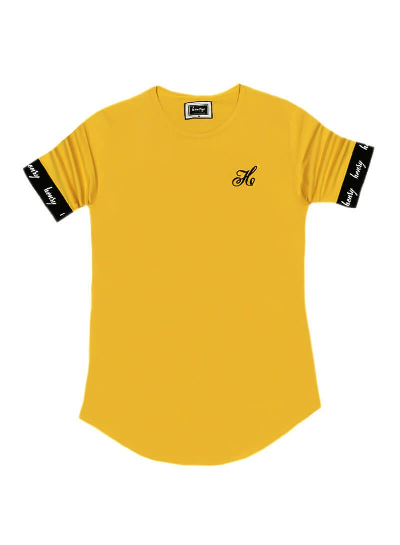 HENRY CLOTHING YELLOW T-SHIRT WITH ELASTICATED SLEEVES