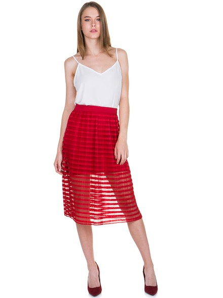 Midi skirt with transparency