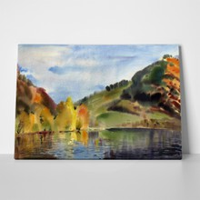 Watercolor autumn mountain lake 159914975 a