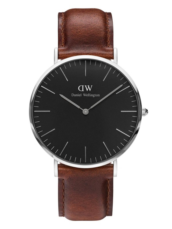 Classic Black St Mawes Brown Leather Strap