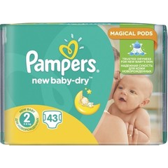 Pampers New Baby Dry No 2 (3-6Kg) 43 τμχ
