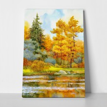 Autumnal forest on lake 172372319 a