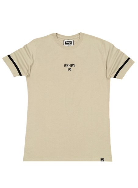 HENRY CLOTHING BEIGE T-SHIRT WITH WHITE STRIPE SLEEVES